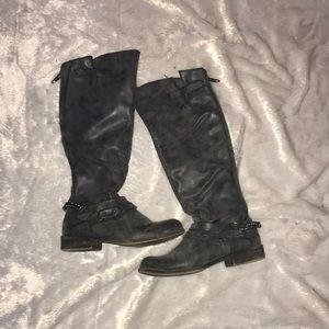 Madden Girl black and blue tall boots back zip 7.5